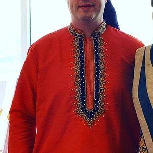 Other - Orange Men's Sherwani for Indian Wedding